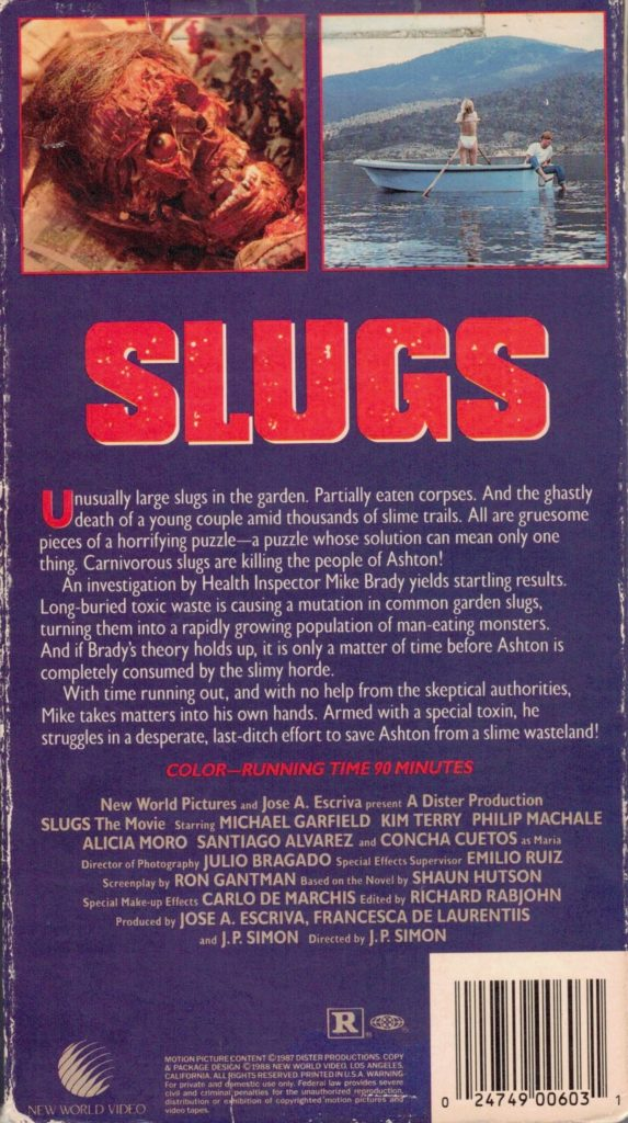 Slugs VHS back box cover art. 1988 movie starring Michael Garfield, Kim Terry, Philip MacHale, Concha Cuetos. Directed by J.P. Simon.