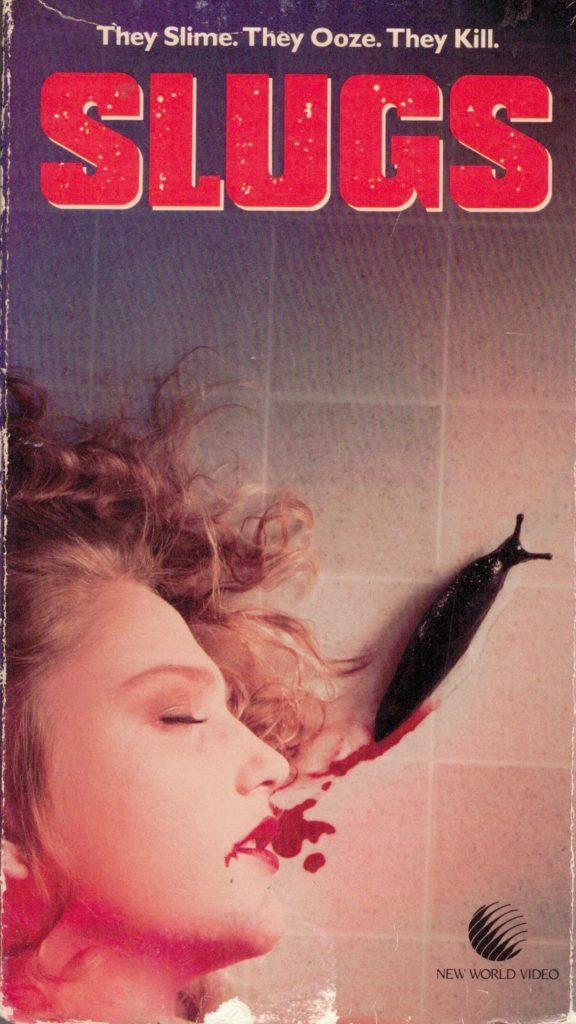 Slugs VHS front box cover art. 1988 movie starring Michael Garfield, Kim Terry, Philip MacHale, Concha Cuetos. Directed by J.P. Simon.